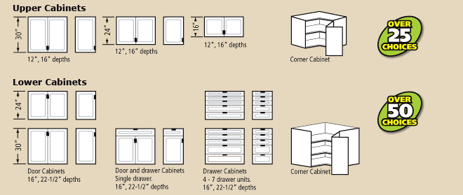 upper and lower storage cabinet configurations